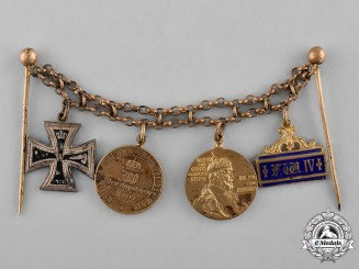 Prussia, State. An Iron Cross 1870 and Prussian Reserve Long Service Miniature Medal Chain