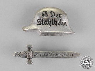 Germany, Der Stahlhelm. A Grouping of two Stahlhelm Veteran's Association Pins