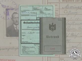 Germany, Heer. A Wehrpaß And Health Book To Gefreiter Georg Messingschlager, 1944