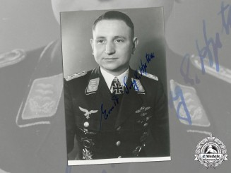 Germany, Luftwaffe. A Post War Signed Studio Portrait Of Long-Range Reconnaissance Pilot Hauptmann Ernst Sorge (KC)