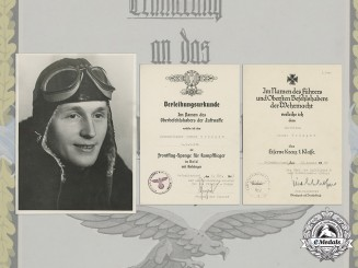 Germany, Luftwaffe. The Award Certificates of Pilot/Observer Unteroffizier Werner Trümper, MIA (Front Flying Clasp in Gold with Pendant)