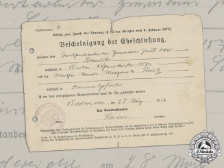 Germany, NSDAP. A Marriage Certificate, 1936