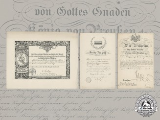 Germany, Imperial. Award Documents to Military Commissariat Dr. Domino, Wilhelm II Signature