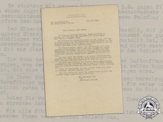 Germany, Luftwaffe. A Letter to Father of Luftwaffe NCO and Observer Hannes Humpe Gone MIA (DKiG)