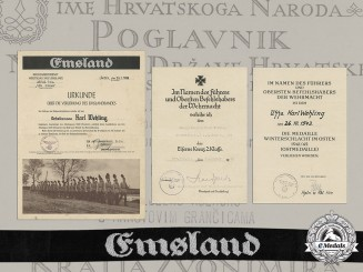 Germany, Heer/RAD. Award Documents & Emsland Cuff Title to Obergefreiter Karl Wehling, 1938-1943