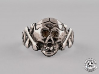 Germany. A Silver Skull Ring; 835 marked