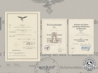Germany, Luftwaffe. A Collection Of Award Documents To Feldwebel Elmar Hartmann (Afrika)