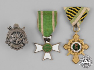 Saxony, Kingdom. A Grouping of Three Veteran's Association Medals and Awards