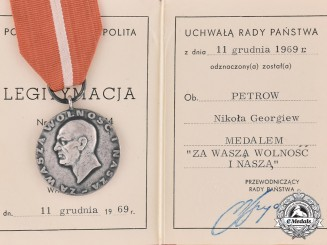 Poland. A 1956 Spanish Civil War Commemorative Medal, with Document