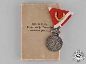Croatia. A Silver Medal of the King's Zvonimir Crown with Oakleaves, with Case