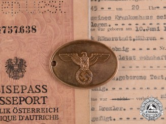 Germany. A Kriminalpolizei (Criminal Police) Identification Tag & Documents, belonging to Alois Potsch