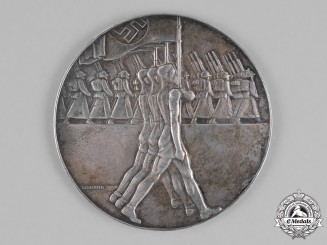 Germany, DRL. A 1936 German Gymnastics Table Medal for Triple Jump Athletics