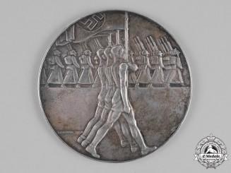 Germany, DRL. A 1936 German Gymnastics Table Medal for Triple Jump Athletics