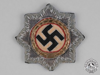 """Germany, Waffen-SS. A German Cross in Gold, with Rare SS/Assault Gun """"Grey"""" Wool Backing"""