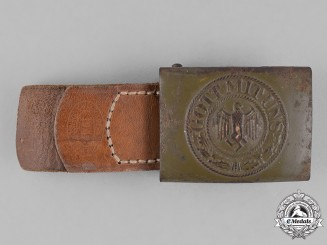 Germany, DAK. A German Africa Crops Standard Issue Belt Buckle, by R. Sieper, Dated 1942