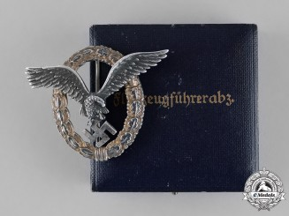 Germany, Luftwaffe. A Luftwaffe Pilot's Badge in its Presentation Case, Named Example, by F.W. Assmann