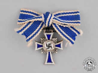 Germany. A Silver Grade Mother's Cross; Miniature on a Ladies Ribbon