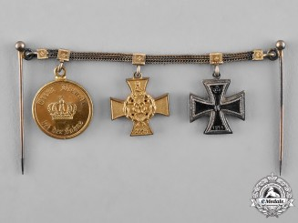 Lippe. A Prussia-Lippe Miniature Medal Chain with Three Medals, Awards, and Decorations