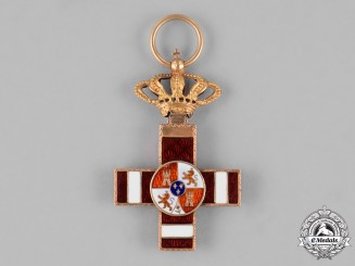 Spain, Kingdom. An Order of Military Merit in Gold, Pensionated I Class Cross c.1889