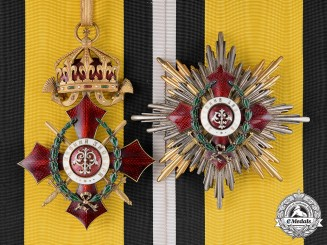 Bulgaria, Kingdom. A Military Merit Order, 1st Class Grand Cross Set with War Decoration, Type I with Imperial Crown