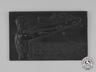 Germany. A 1937 Plaque with Inspirational Quote to the Youths of Germany