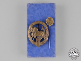 "Germany. A Cased Horse ""Driver"" Badge, Bronze Grade, with its Miniature, by L. Christian Lauer"