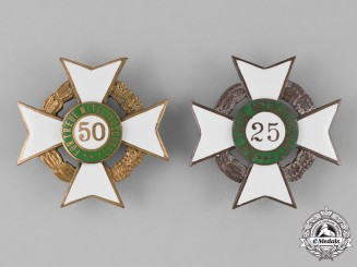 Germany, Weimar Republic. A Grouping of Two Veteran's Association Long Membership Crosses