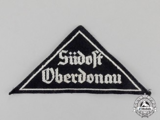 "Germany. A Mint HJ/BDM ""Südost Oberdonau"" District Sleeve Insignia; RZM Tagged"