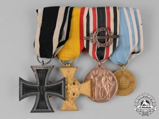Lippe. A Prussian-Lippian Medal Bar with Four Medals, Awards, and Decorations