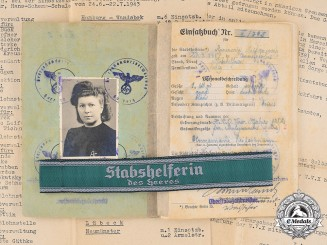 Germany, Heer. A Cuff Title & Document Collection To Female Staff Helper at Volkswagen Factory, 1943-45