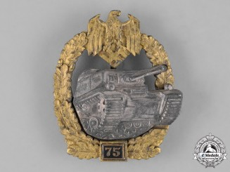 Germany, Third Reich. A Special Grade Tank Badge for 75 Panzer Engagments, Later Semihollow Juncker