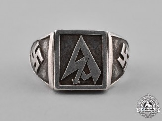 Germany, Third Reich. A Silver SA (Storn Detachment) Supporter's Ring with Incognito Functio