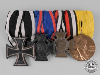 Germany, Empire. A First War German Medal Bar with Four Medals, Awards, and Decorations