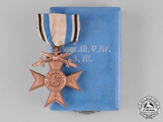 Bavaria, Kingdom. A Cased Order of Military Merit, War Merit Cross Third Class, with Swords