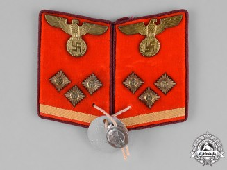 Germany, NSDAP. A Set of NSDAP Obereinsatzleiter Collar Tabs, RZM Marked, with Proof Tag