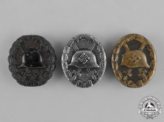 Germany, Empire-Third Reich. Three Black Grade Wound Badges