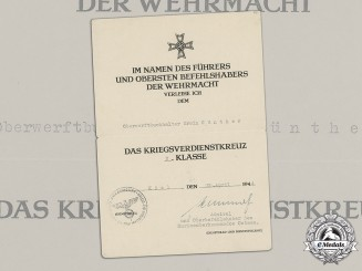 Germany, Third Reich. A War Merit Cross 2nd Class Document to Senior Shipyard Accountant Erwin Günther