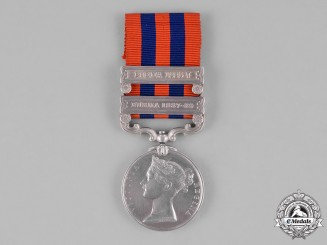 United Kingdom. A India General Service Medal 1854-1895, to Private W. Brooker, 2nd Battalion, Royal West Surrey Regiment