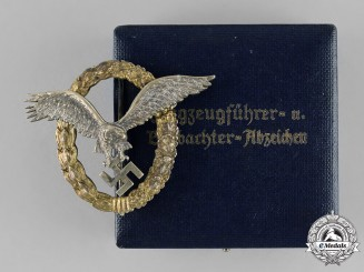 Germany, Luftwaffe. A Superb Combined Pilot & Observer Badge with Case, by C.E. Juncker