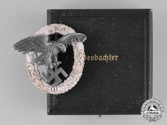 Germany, Luftwaffe. An Observer's Badge with Case, by Wilhelm Deumer