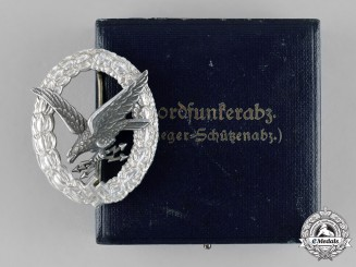 Germany, Luftwaffe. An Radio Operator Badge, Aluminum with Case, by Assmann