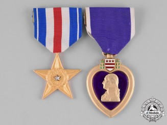 United States. A Silver Star and Purple Heart Pair to M. Olander