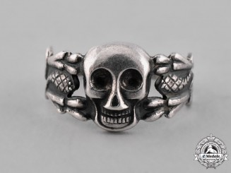 Germany, Weimar. A Silver Freikorps Totenkopf Ring