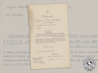 Croatia. A Preliminary Award Document (Vorschlag), to Oberstleutnant Josef Remold, Signed by A. Pavelić
