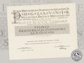 Croatia. An Award Document of the King Zvonimir Order, Grand Cross, to a German General Gerhard Hoffmann