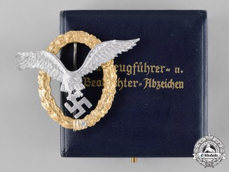 Germany, Luftwaffe. A Combined Pilot & Observer Badge, Aluminum, by C.E. Juncker