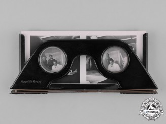 "Germany. A Stereoscope by Raumbild-Verlag with Luftwaffe ""Fly and Win"" Photo Cards"