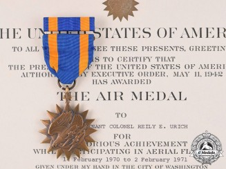 United States. Air Medal, to Vietnam War Veteran, Lieutenant Colonel Reily Eugene Urich, 4258th Strategic Wing, U-Tapao Field in Thailand