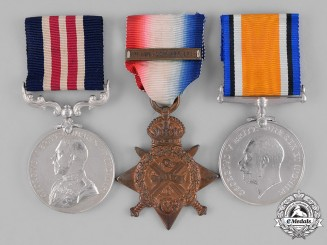 United Kingdom. An MM Trio to Bombardier/Sergeant Robert Clark, 43rd Royal Field Artillery Regiment/39th Brigade, RFA