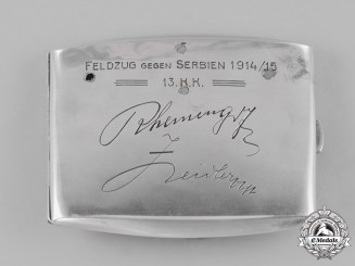 Austria, Empire. A Silver Cigarette Case of the 13.Korpskommando - Agram
